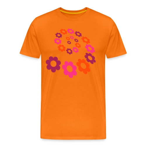 Front Flower Power, Back:Groundwork, Men Shirt for Women ( 3 XL) ( Print : Neonorange) - Männer Premium T-Shirt