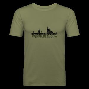 UBI BENE DO ES KÖLLE Skyline (Vintage Schwarz) Köln Slim Fit T-Shirt - Männer Slim Fit T-Shirt