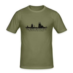 UBI BENE DO ES KÖLLE Skyline (Vintage Schwarz) Köln Slim Fit T-Shirt - Männer Slim Fit T-Shirt