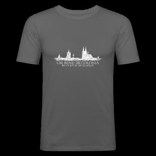 UBI BENE DO ES KÖLLE Skyline (Vintage Weiß) Köln Slim Fit T-Shirt - Männer Slim Fit T-Shirt