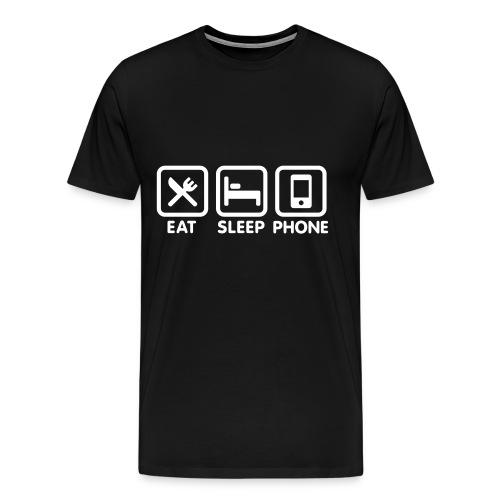 Eat, Sleep, Phone grappig Shirt - Mannen Premium T-shirt