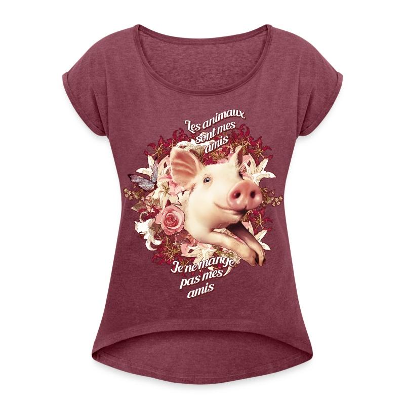 Je ne mange pas mes amis - T-shirt à manches retroussées Femme