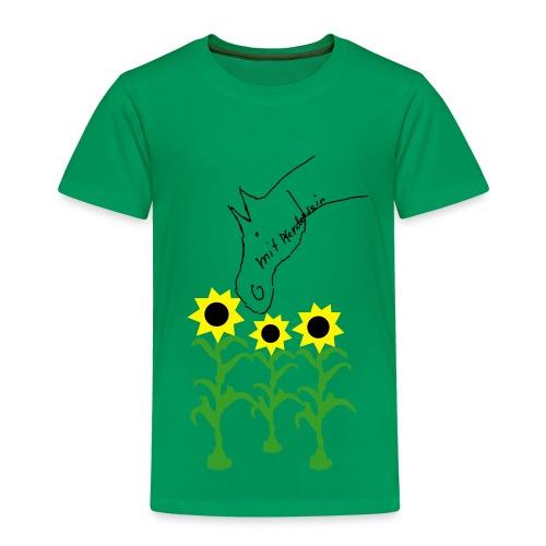 Pferdchen eats sunflowers, KIDS Shirt  ( Print: Black) - Kinder Premium T-Shirt