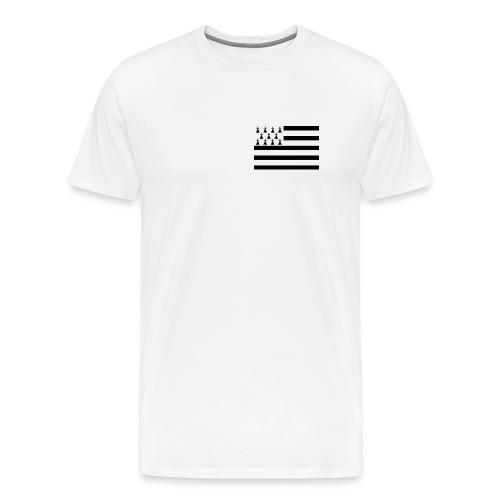 T Shirt Breton sur le  Coeur - Tee shirt Premium Homme - T-shirt Premium Homme