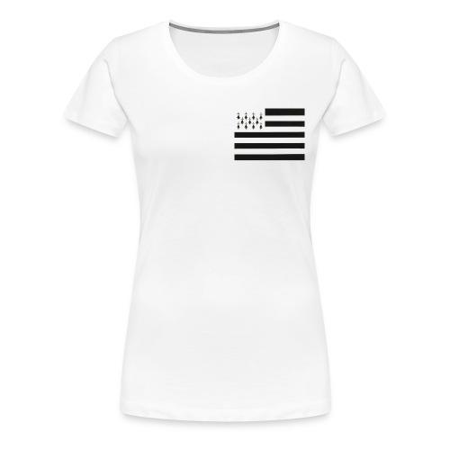 Tee shirt Premium Femme Drapeau Breton sur le coeur - T-shirt Premium Femme