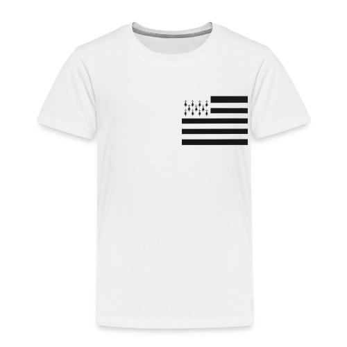 Tee shirt Premium Enfant Drapeau Breton sur le Coeur - T-shirt Premium Enfant