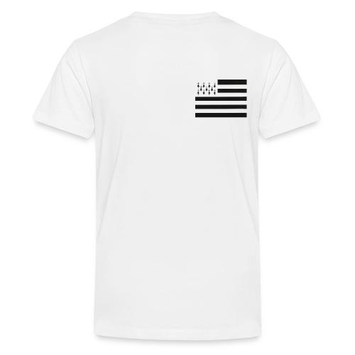Tee shirt Premium Ado Drapeau breton sur le coeur - T-shirt Premium Ado