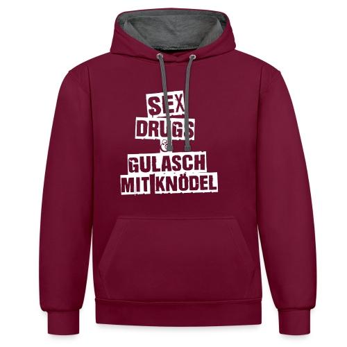 Gulasch mit Knödel | Unisex Hoodie - Kontrast-Hoodie