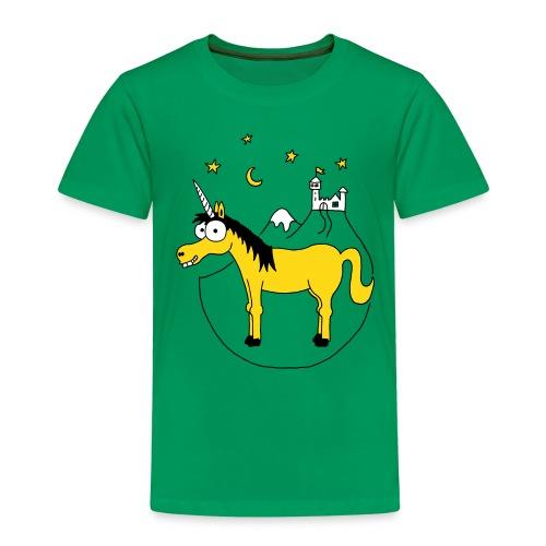 Einhorn mit Burg, Unicorn, Märchen, Pferd, Sterne T-Shirts - Kinder Premium T-Shirt