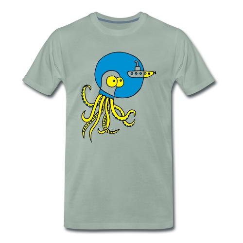 Tintenfisch trifft Uboot, Meer, tauchen, Boot T-Shirts - Männer Premium T-Shirt