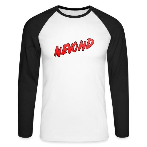 NevoHD Text Long Sleeved Baseball Tee - Men's Long Sleeve Baseball T-Shirt