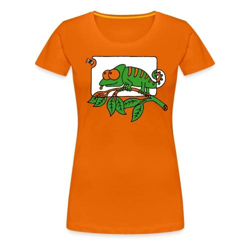 Chamaeleon und Fliege, Farbe, Urwald, Tier, lustig T-Shirts - Frauen Premium T-Shirt