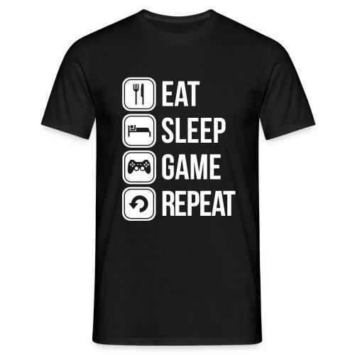 Tshirt Eat, Sleep, Game, Repeat, Crew Member Mammolos98 - Men's T-Shirt