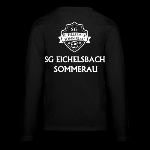 Kinder Premium Langarmshirt mit Wappen und Schriftzug auf Rücken - Teenager Premium Langarmshirt