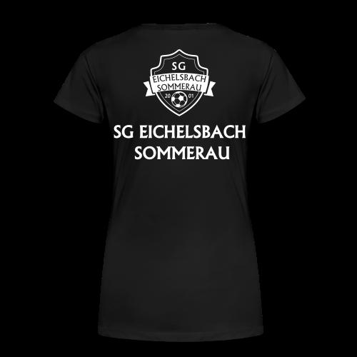 Premium T-Shirt mit Wappen und Schriftzug auf Rücken - Frauen Premium T-Shirt