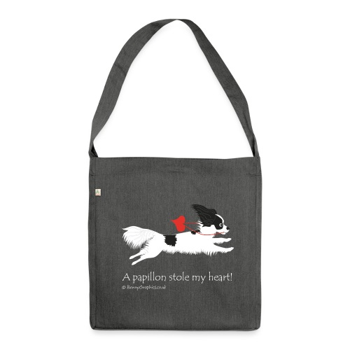 A papillon stole my heart! designed by Bonny Graphics - Shoulder Bag made from recycled material