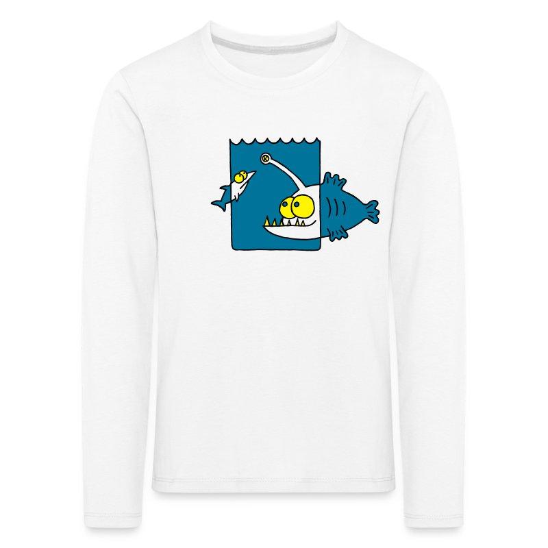 der Anglerfisch leuchtet den Weg, Lampe, angeln Langarmshirts - Kinder Premium Langarmshirt