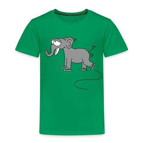 lustiger Elefant beim Schlittschuhfahren, Winter T-Shirts - Kinder Premium T-Shirt