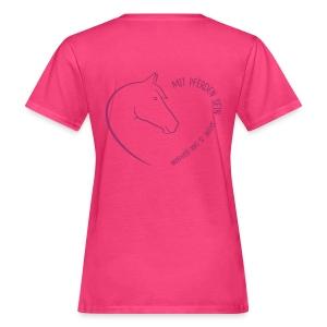 Front: Horseheart Small, Back: Coeur, Women Bioshirt ( Print:.Digital Rosé & Red Glitter) - Frauen Bio-T-Shirt