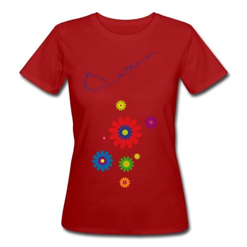 Flower Power & LOGO Schriftzug, Women Bioshirt ( Print:.Königsblau) - Frauen Bio-T-Shirt