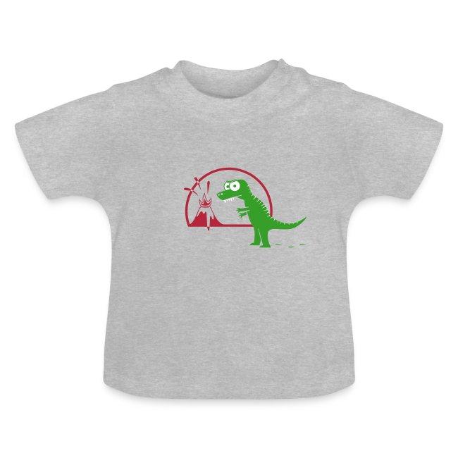 Dino mit Vulkan, T-Rex, Dinosaurier, Echse Baby T-Shirts