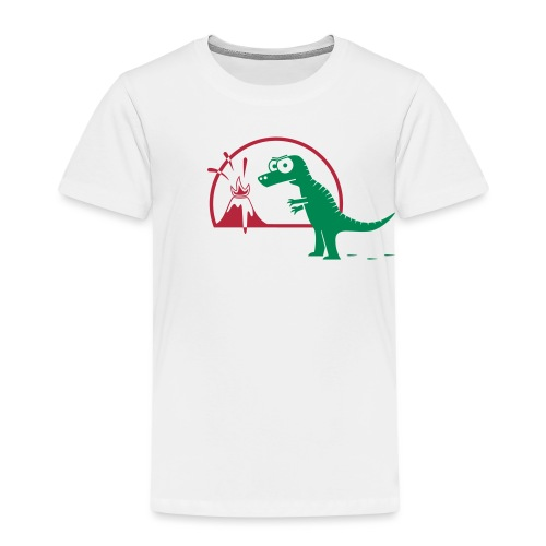 Dino mit Vulkan, T-Rex, Dinosaurier, Echse T-Shirts - Kinder Premium T-Shirt
