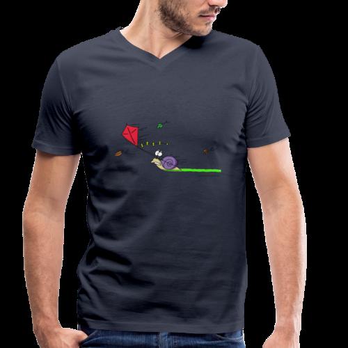 Männer Cartoon T(ier)-Shirt (V-Ausschnitt) Rasende Schnecke - Männer Bio-T-Shirt mit V-Ausschnitt von Stanley & Stella