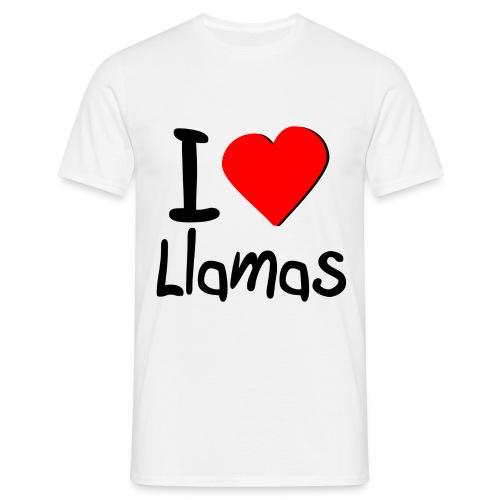 I ♥ Heart Llamas - White - Men's T-Shirt