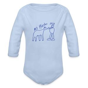 MPS Naiv Print,  Body ( Print: Digital Kings Blue) - Baby Bio-Langarm-Body