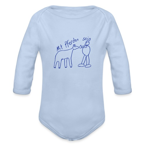 MPS Naiv Print,  Body ( Print: Digital Kings Blue) - Baby Bio-Langarm-Body