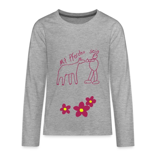 MPS Naiv Print & Three Flowers, Teen Longsleeve ( Print: Magenta, Neongelb) - Teenager Premium Langarmshirt