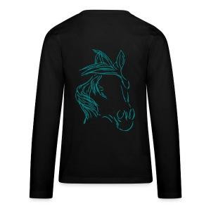 Front:Three Flowers, Back: Dreamhorse, Teen Longsleeve ( Print: Smaragd Green, Neonpink) - Teenager Premium Langarmshirt