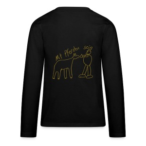 Front:MPS Reiter pur, Back: MPS Naiv Print, Teen Longsleeve ( Print: Metallic Gold) - Teenager Premium Langarmshirt