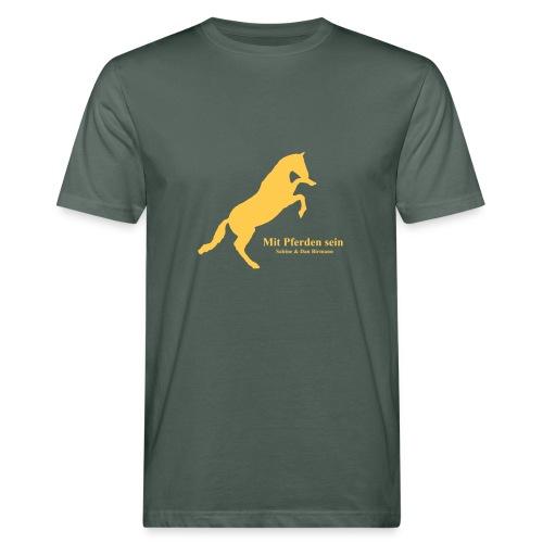 Steigendes Pferd, Men Bio Shirt ( Print: Sonnengelb) - Männer Bio-T-Shirt