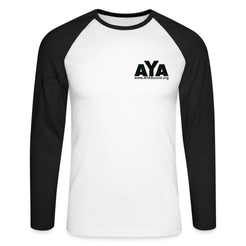 AYA - Baseball Langarmshirt - Logo schwarz vorne und hinten - Männer Baseballshirt langarm