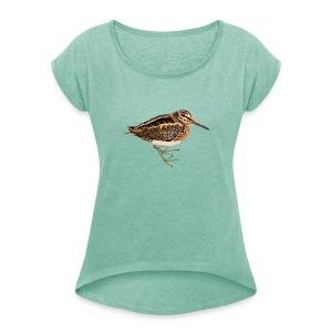 Zwergschnepfe - Frauen T-Shirt mit gerollten Ärmeln