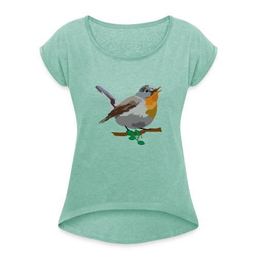 Zwergschnäpper - Frauen T-Shirt mit gerollten Ärmeln