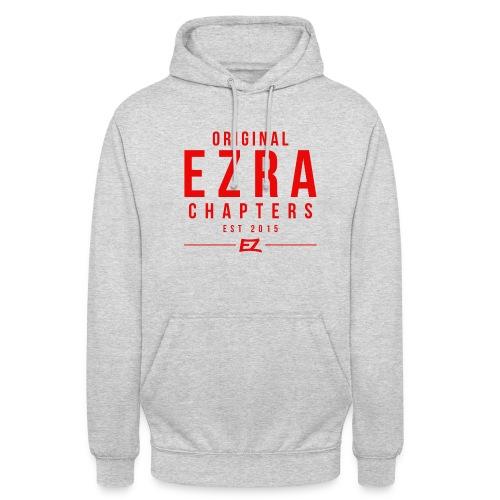 Ezra Hipster Hoddie - White On Red - Unisex Hoodie