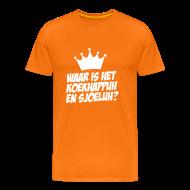 T-shirts ~ Mannen Premium T-shirt ~ Waar is het koekhappuh en sjoeluh??