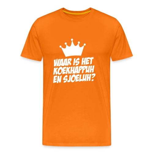 Waar is het koekhappuh en sjoeluh?? - Mannen Premium T-shirt