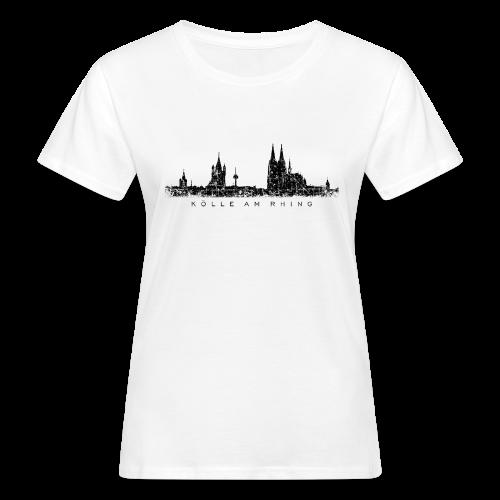 Kölle am Rhing Skyline (Vintage Schwarz) Köln Bio T-Shirt - Frauen Bio-T-Shirt