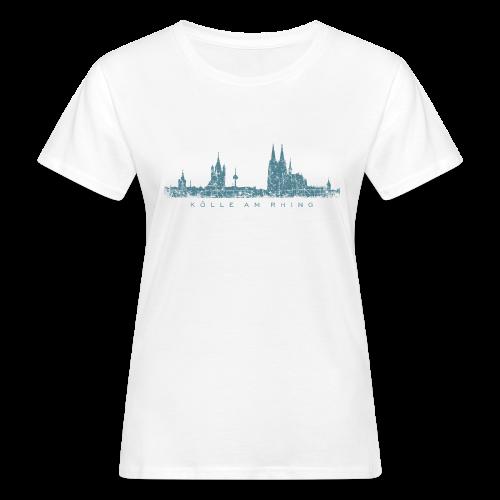 Kölle am Rhing Skyline (Vintage Blau) Köln Bio T-Shirt - Frauen Bio-T-Shirt