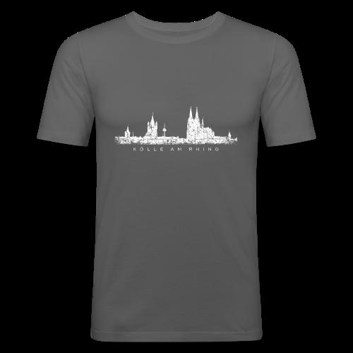 Kölle am Rhing Skyline (Vintage Weiß) Köln Slim Fit T-Shirt - Männer Slim Fit T-Shirt