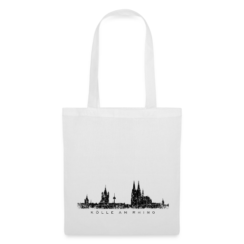 Kölle am Rhing Skyline (Vintage Schwarz) Köln Stofftasche - Stoffbeutel