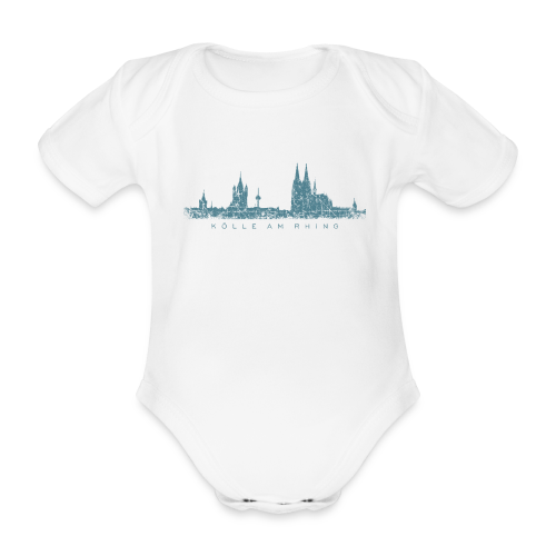 Kölle am Rhing Skyline (Vintage Blau) Köln Babybody - Baby Bio-Kurzarm-Body
