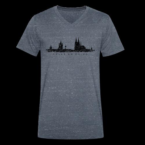 Kölle am Rhing Skyline (Vintage Schwarz) Köln V-Neck T-Shirt - Männer Bio-T-Shirt mit V-Ausschnitt von Stanley & Stella
