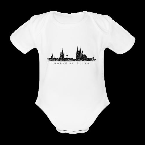 Kölle am Rhing Skyline (Vintage Schwarz) Köln Babybody - Baby Bio-Kurzarm-Body