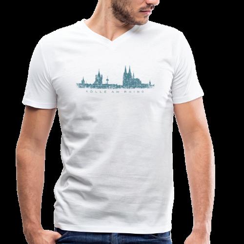 Kölle am Rhing Skyline (Vintage Blau) Köln V-Neck T-Shirt - Männer Bio-T-Shirt mit V-Ausschnitt von Stanley & Stella