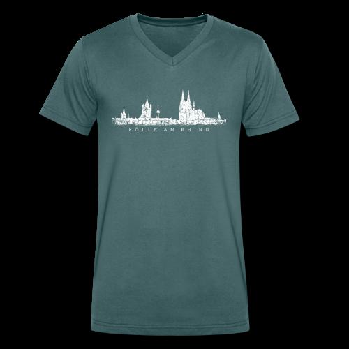 Kölle am Rhing Skyline (Vintage Weiß) Köln V-Neck T-Shirt - Männer Bio-T-Shirt mit V-Ausschnitt von Stanley & Stella