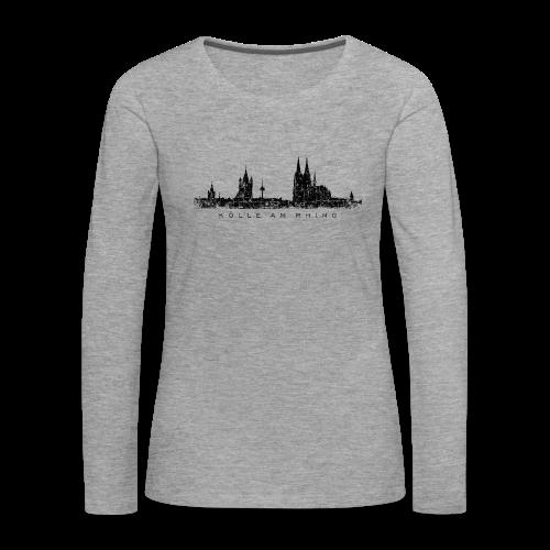 Kölle am Rhing Skyline (Vintage Schwarz) Langarmshirt - Frauen Premium Langarmshirt